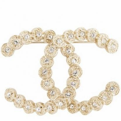 Chanel Gold Crystal Iconic Classic CC Dress Pin Brooch New 20