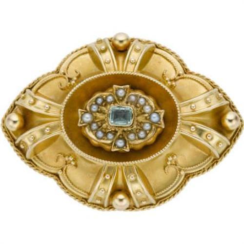 Victorian Emerald, Seed Pearl, Gold Broo