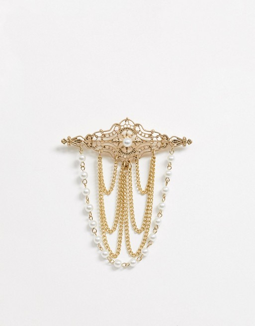 Uncommon Souls pearl ornate brooch in gold | AS