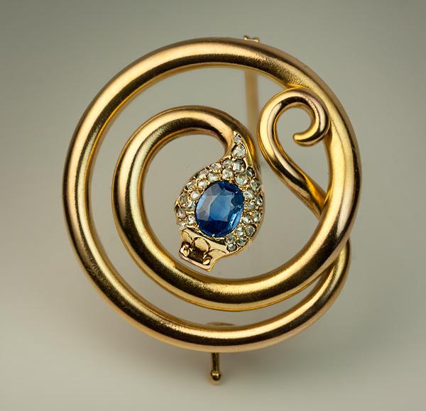 Antique Russian Sapphire Diamond Gold Snake Brooch - Antique .