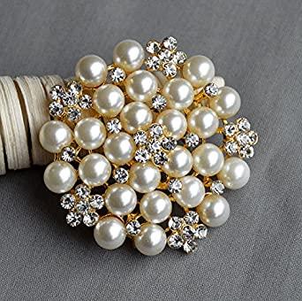 Amazon.com: Rhinestone Brooch Crystal Pearl Brooch Gold for .