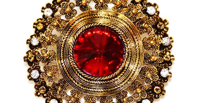 Online Shop Edwardian Jewelry Domed Red Crystal Stone Round .