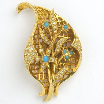 Vintage Gold Brooch | Textured Leaf w/Turquoise & Diamant