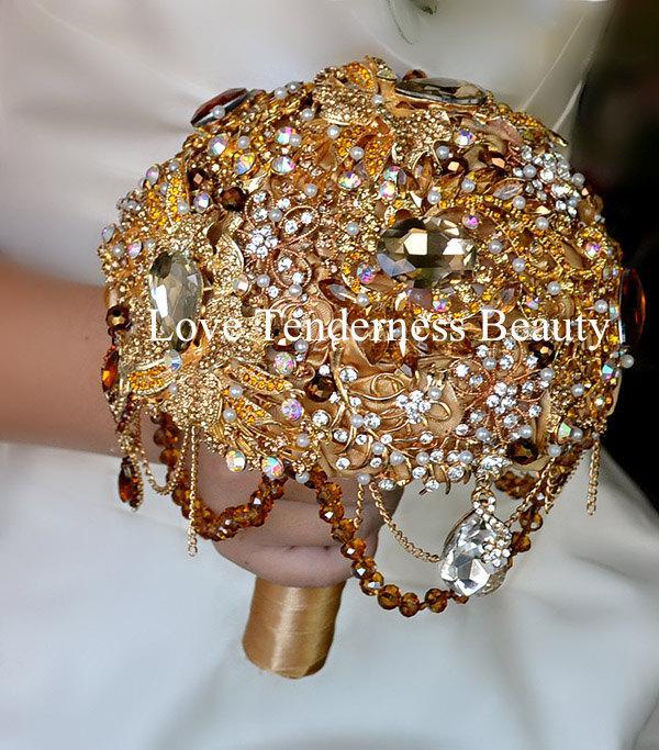 BAROQUE BROOCH BOUQUET Gold Wedding Brooch Bouquet Amber Bridal .