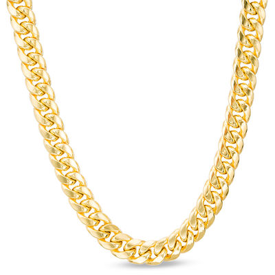 """Men's 7.4mm Cuban Curb Chain Necklace in 10K Gold - 22"""" 