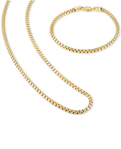 """Esquire Men's Jewelry 2-Pc. Set Box Link 22"""" Chain Necklace and ."""