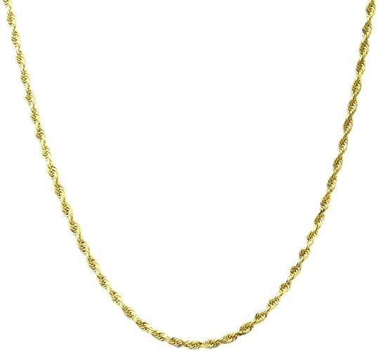 Amazon.com: 10K Gold 2.0MM Diamond Cut Rope Chain Necklace Unisex .