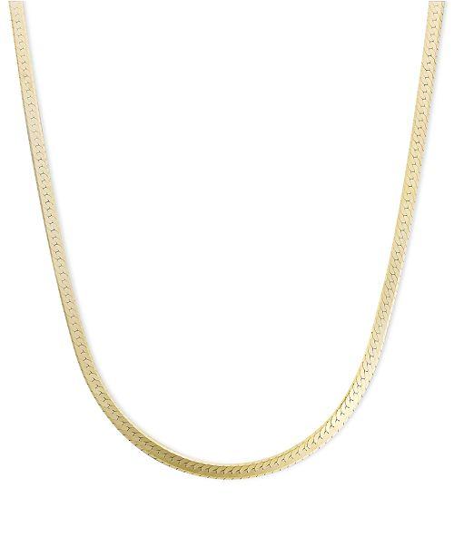"Macy's 14k Gold Necklace, 18"" Flat Herringbone Chain (1-1/4mm ."