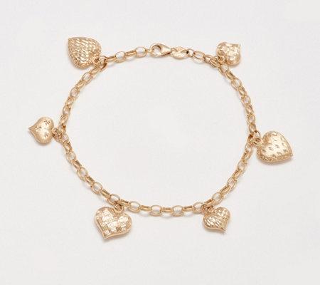 EternaGold Multi-Heart Charm Bracelet 14K Gold, 4.7g - Page 1 .