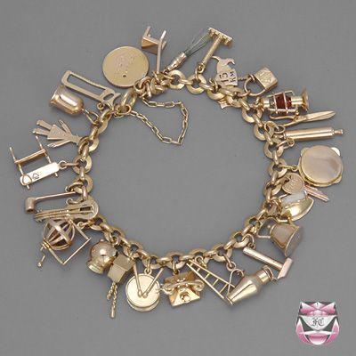 Vintage Rose Gold Charm Bracelet | Charm bracelet, Gold charm .