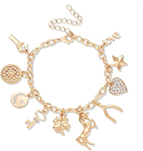 Amazon.com: CEALXHENY Women's Charm Bracelet Polished Unicorn Star .