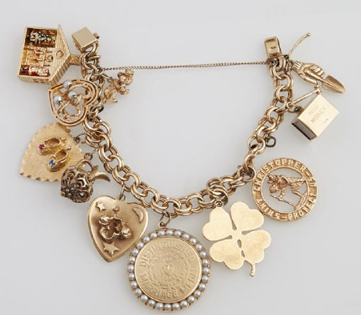 Vintage 14K Yellow Gold Charm Bracelet, with ten 14K - Nov 18 .