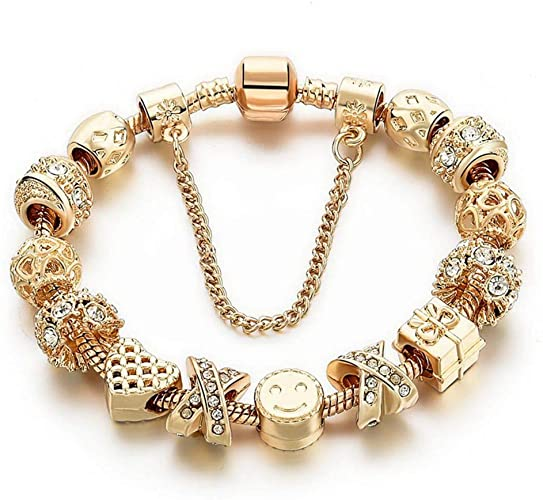 Amazon.com: Charm Bracelets for Women Gold Plated Snake Chain .