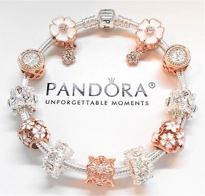 Pandora Sterling Silver Charm Bracelet With Rose Gold & White .
