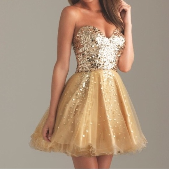 Night Moves Prom Collection Dresses | Short Gold Prom Dress | Poshma