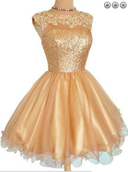 Gold Tulle Short Prom Dress,Homecoming Dress,Graduation Dress .