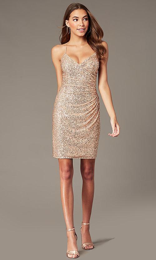 Short Formal Sequin Hoco Dress in Rose Gold Pi