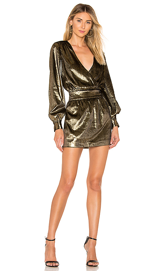 FRAME Metallic Velvet Dress in Gold | REVOL