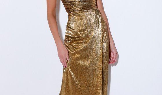 Stunning Gold Dress - Pleated Dress - Midi Dress - Party Dre