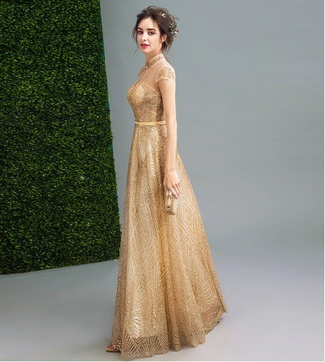 Formal Gold Evening Gown Party Prom Dress - Cheap Prom Dress .