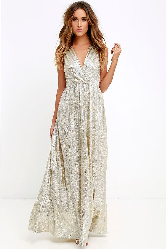Gold Dress - Maxi Dress - Metallic Dress - Silver Dre