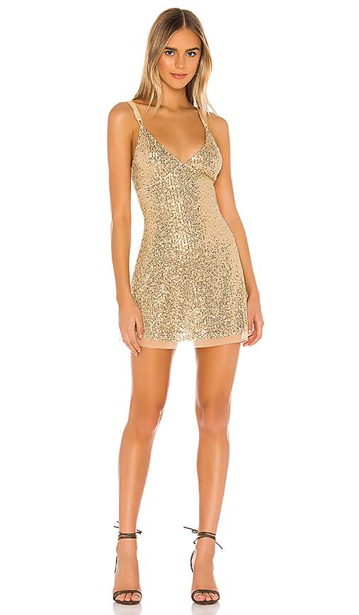 Free People Gold Rush Mini Dress in Gold | REVOL