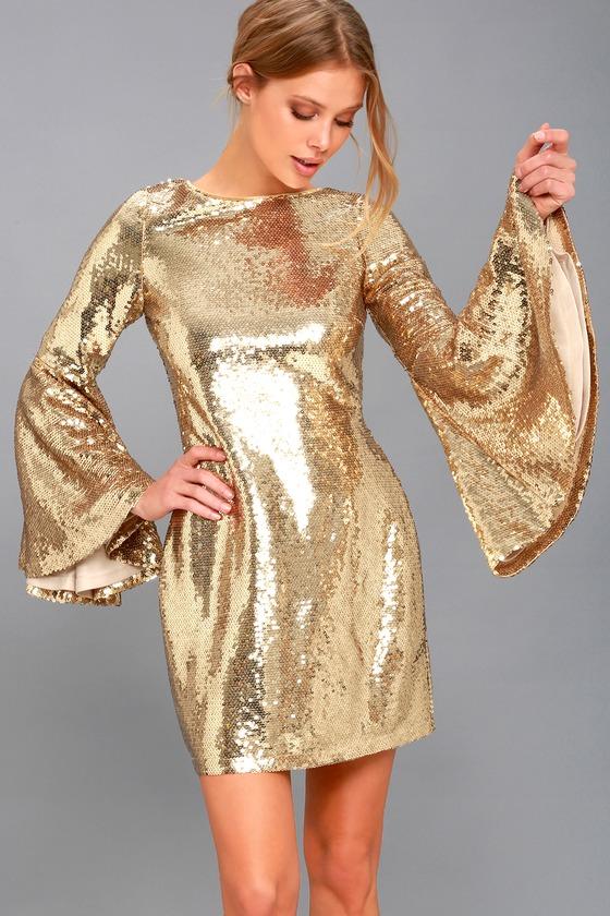 Stunning Sequins Dress - Gold Dress - Bell Sleeve Dre
