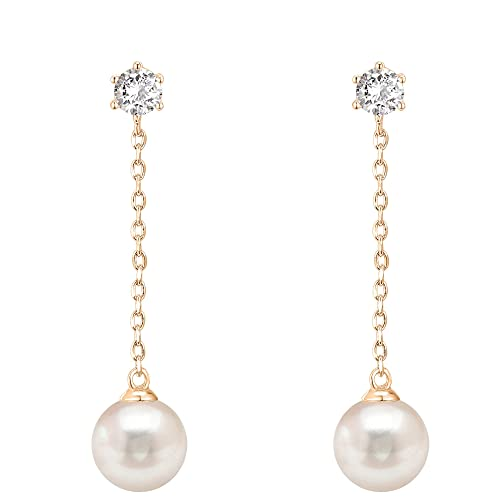 Long Gold Pearl Drop Earrings: Amazon.c