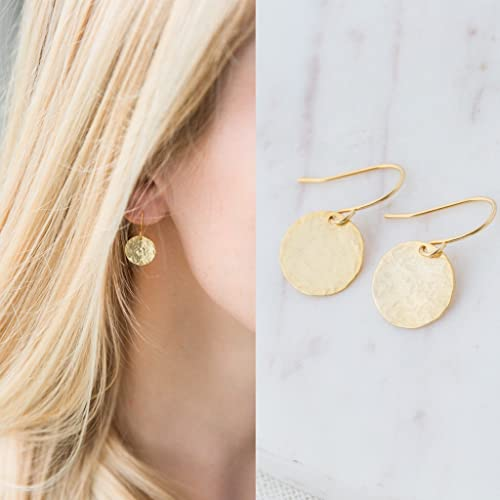 Amazon.com: Dainty Gold Hammered Disc Circle Drop Earrings: Handma