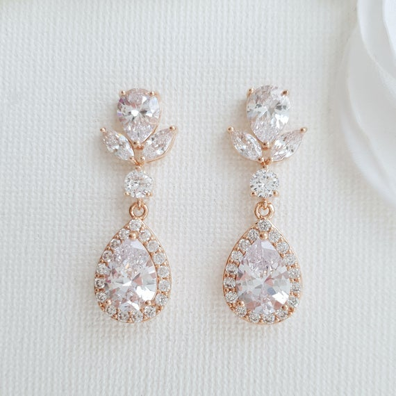 Rose Gold Drop Earrings for Brides Bridal Earrings Wedding | Et