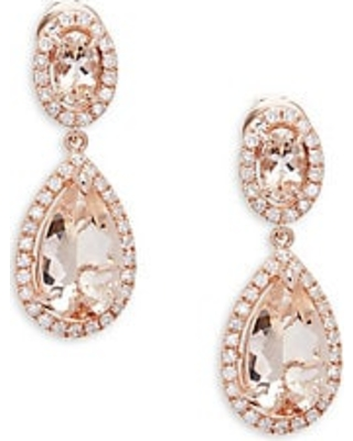 Get The Deal. 70% Off Diamond, Morganite and 14K Rose Gold Drop .
