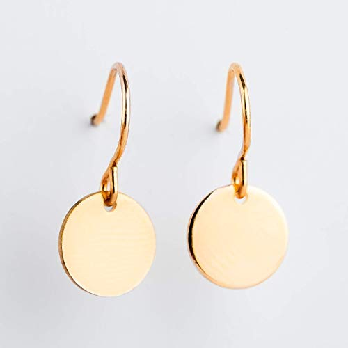 Amazon.com: Round Circle Disc dangle drop Earrings in 14K Yellow .