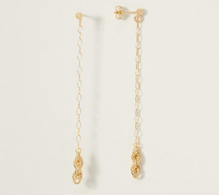 Italian Gold Infinity Knot Linear Drop Earrings, 14K Gold - Page 1 .