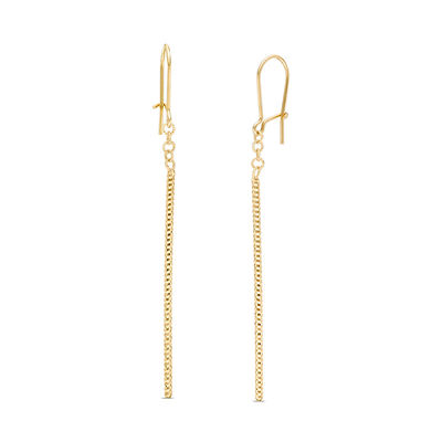 Single Chain Drop Earrings in 14K Gold | Online Exclusives .