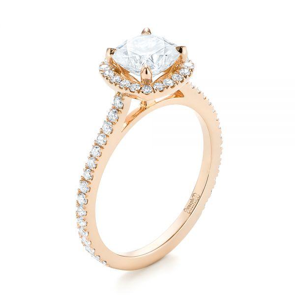 18k Yellow Gold Custom Diamond Halo Engagement Ring #103453 .