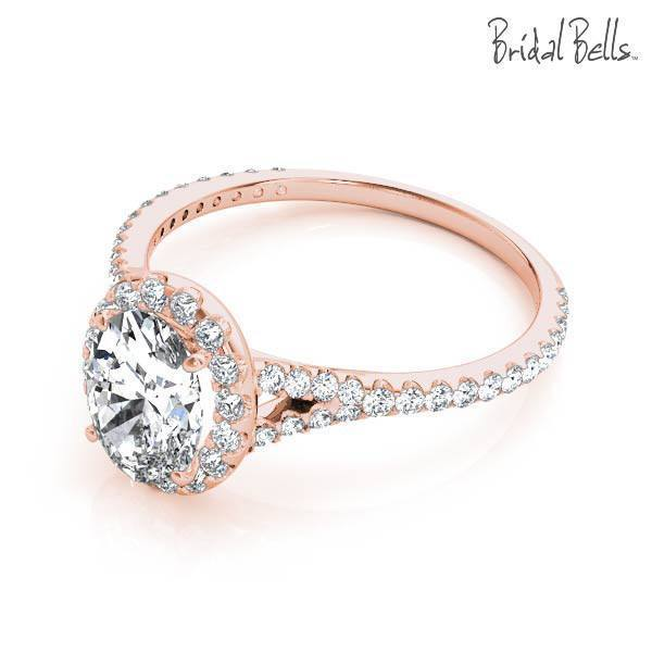 14K Rose Gold 2cttw Oval Shaped Halo Diamond Engagement Ring .
