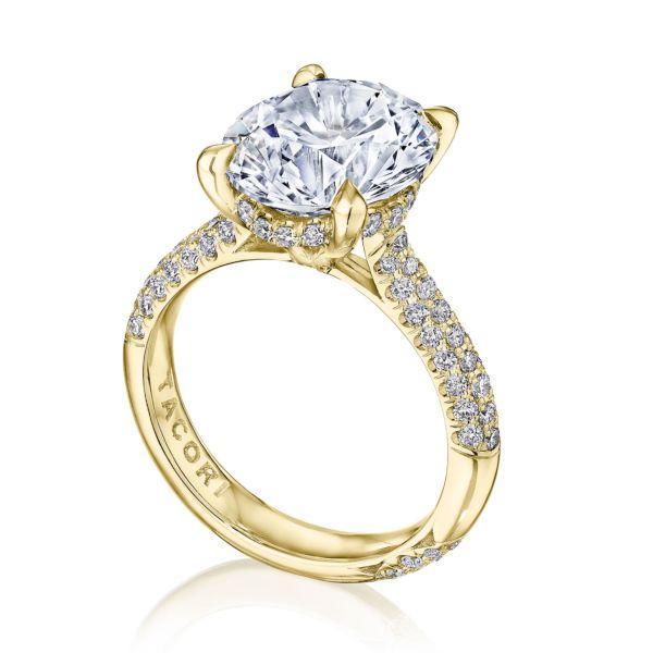 Tacori RoyalT 18k Yellow Gold Round Semi-Mount Engagement Ring .