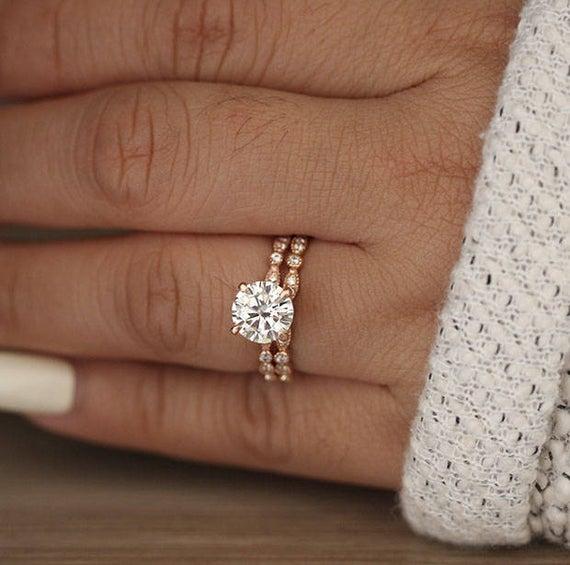 Wedding Ring Set Moissanite Rose Gold Engagement Ring Round | Et