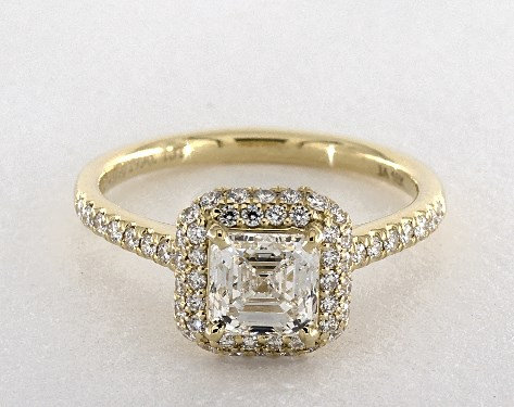 1.06 Carat Square Emerald Cut Halo Engagement Ring in 18K Yellow .