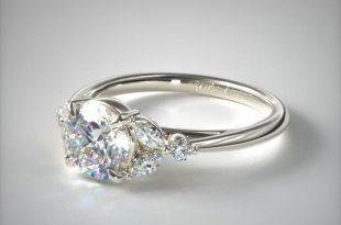 engagement rings, side stones, 14k white gold laurel leaves .