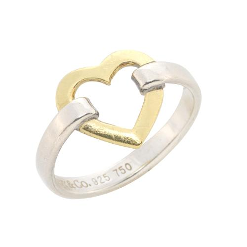 Tiffany & Co. Sterling Silver Gold Heart Ring - Size