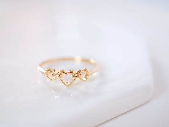 Triple Heart Ring Heart Ring Heart Rings Love Ring Gold | Et