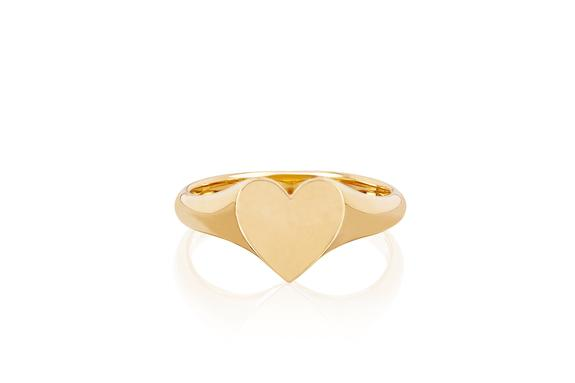 Gold Heart Signet Ring – EF Collecti