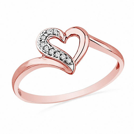 Diamond Accent Heart Ring in 10K Rose Gold | Rose Gold Rings .