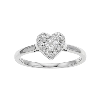 10k White Gold 1/4 Carat T.W. Diamond Heart Cluster Ri