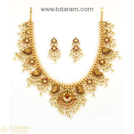 22K Gold Temple Jewellery Necklace Sets -Indian Gold Jewelry -Buy .
