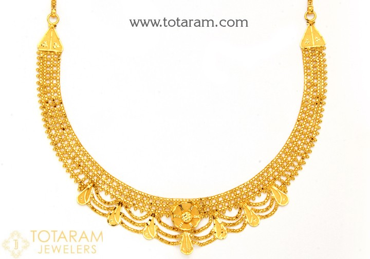 22K Gold Necklace For Women - 235-GN3754 in 22.300 Gra
