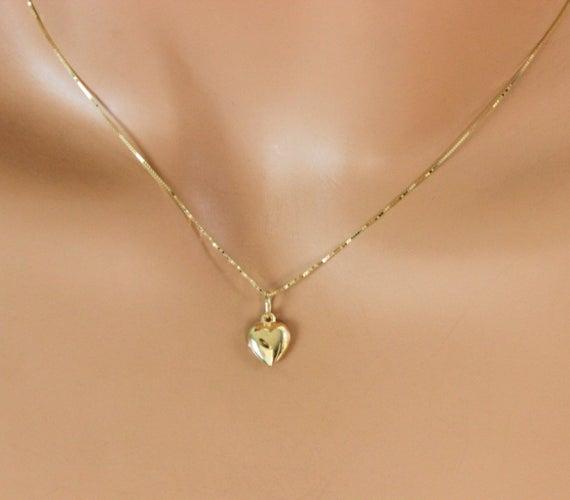 14kt Gold Heart Charm Necklace Women Girls Small Puffed Charm | Et