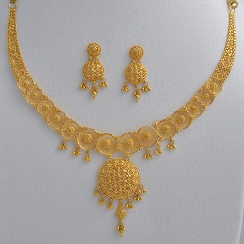 Abhi Jewels 22K Yellow Gold Necklace Set for Women | Gold bridal .