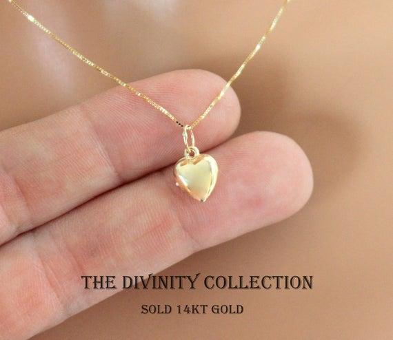 Yellow Gold 14kt Heart Pendant Necklace Women Girls Small | Et